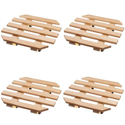 4 x Plante Roller en bois 35 x 35 cm Octaèdre Hêtre avec 4 roulettes laiton Roll Soucoupe Set économique