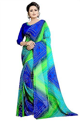 RR Crafts&Creations Weiche Georgette Crepe Blend Saree mit Blusenstück für Damen & Mädchen, indische Bollywood-Stil, Party tragen Saree,Weiche Georgette-Crepe-Mischung mit Bluse (Königs blau) Crepe Saree