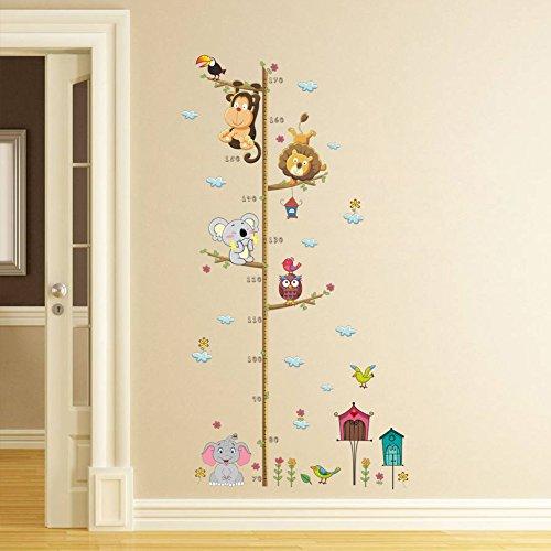 ElecMotive Abnehmbare Messlatte Körpergröße Messen Wandsticker für Kinderzimmer in Geschenkkarton verpackt (Tiere)