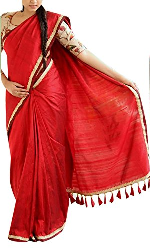 Rv Creation Women's Chanderi Cotton Saree With Blouse Piece (Chanderired, Red, Free...