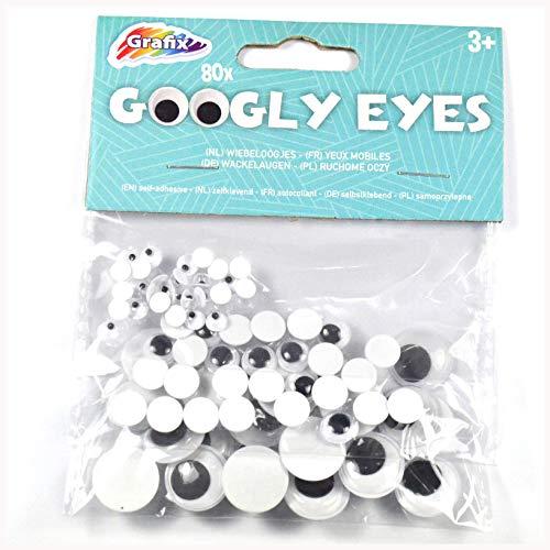 Grafix Aufkleber, selbstklebend, 80 Stück, 3 Verschiedene Größen, Farbmischung, bewegliche Augen, Weiß und Schwarz, Googly Eyes -
