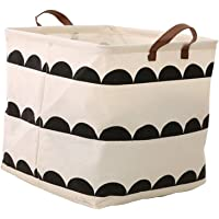 Fablcrew - Demi-cercle noir imprimé carré, grand sac de rangement pliable avec poignée, taille 32 x 32 x 32 cm (style A)