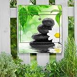 Briefkasten bunt Edelstahl Zeitungsfach motivX Kombi Wandbriefkasten mit Motiv Steine mit weißer Blume