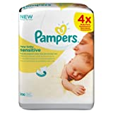 Pampers Perfume-Free Sensitive New Baby Wipes - 4 x Packs of 50 (200 Wipes)