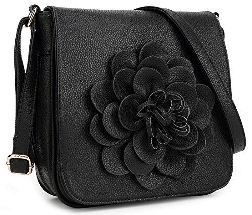 Kukubird Fleur En Faux Cuir Fleur 3D Cross Body Bag Black