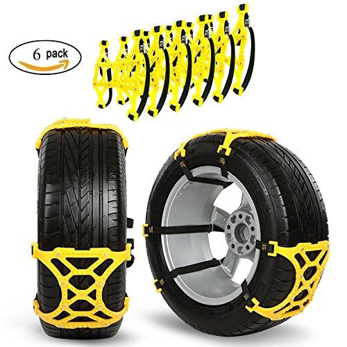 Lot de 6 chaînes à neige GOGOLO - Pour voiture/camion/SUV - Antidérapantes et réglables - Roue de secours - Conviennent à la plupart des véhicules - Pneu de largeur 165-265mm