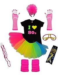 RAINBOW TUTU SKIRT 80S FANCY DRESS I LOVE TSHIRT SET LEG WARMERS GLOVES BEADS