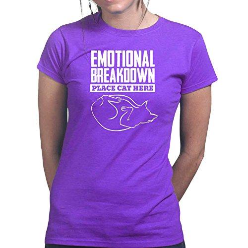 Womens Emotional Breakdown Cat Kitten Pet Ladies T Shirt (Tee, Top) Purple
