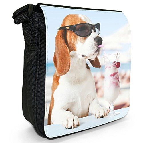 Beagle Dog-Borsa a spalla piccola di tela, colore: nero, taglia: S Cool Beagle Having A Cocktail