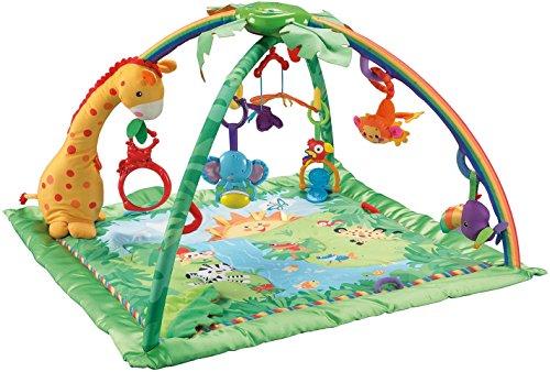 dschungel baby Fisher-Price K4562 Rainforest Erlebnisdecke Krabbeldecke mit Musik und Lichtern weichem Spielbogen Babyerstausstattung, ab 0 Monaten