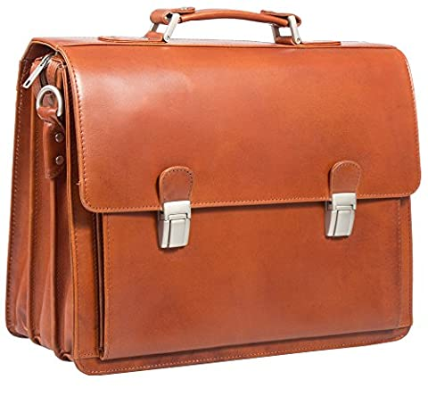 EXECUTIVE ITALIAN COGNAC/ TAN REAL LEATHER BRIEFCASE