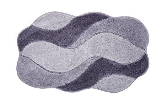 GRUND Badteppich 100{cf53df58a5c85a222fc2df5bf55b4742e95808cf9f210c0f595d62e823e3baff} Polyacryl, ultra soft, rutschfest, ÖKO-TEX-zertifiziert, 5 Jahre Garantie, CARMEN, Badematte 70x120 cm, grau