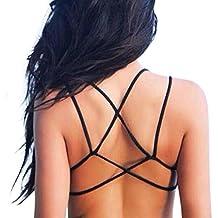 TININNA Donne sexy senza schienale Strap Croce spiaggia Crop reggiseno imbottito canotta Bralette maglia (Maglia Canotta)
