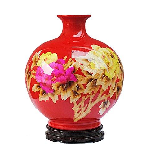 Peaceip ceramica moderna nuovo stile cinese decorazione vaso mensola antica accessori per la casa (colore : rosso)