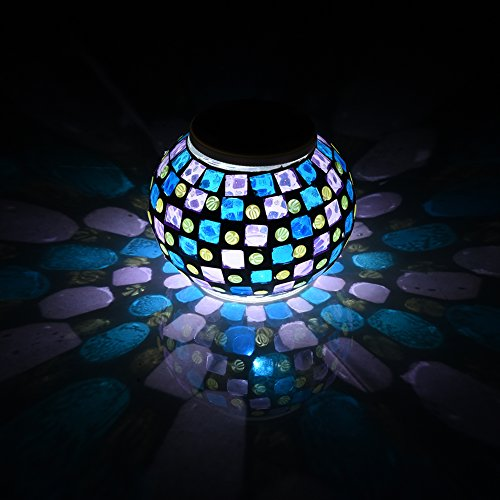 Samber Rechargeable Solar Lawn Lamp Solar Powered Night Light Mosaic Glass Ball LED Garden Lights Color Changing Solar Table Lamp Light Waterproof Solar Outdoor/Indoor Decorative Landscape Light Lamp/B