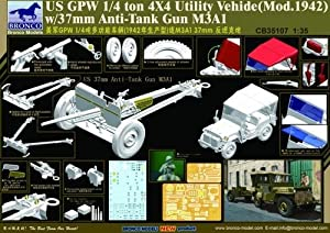 Unbekannt Bronco Models cb35107-Maqueta de US GPW 4x 4Light Utility Truck 37mm Anti de Reservorio Gun m3a1