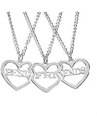 Elegant Rose 3 Piezas Best Friends Forever BFF Plata corazón Clave Colgante Collar Conjunto Amistad Accesorios