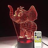 Elefantenbabynachtlicht-Notenschalter-Fernsteuerungstabellenlampenfarbwechselraum-Dekorationsgeschenklampe