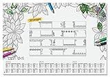 SIGEL HO540 Papier-Schreibunterlage, ca. DIN A2 - extra groß, mit 20 verschiedenen Blättern zum Ausmalen und 3-Jahres-Kalender - weiteres Modell
