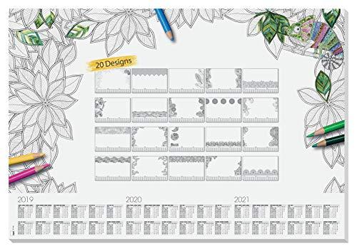 SIGEL HO540 Papier-Schreibunterlage, ca. DIN A2 - extra groß, mit 20 verschiedenen Blättern zum Ausmalen und 3-Jahres-Kalender - weiteres Modell -