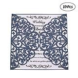 Decdeal Inviti Matrimonio,Carte Carta Pearl Hollow Invito Impostato per Matrimonio Festa di Compleanno (10pcs Invitation + 10pcs Fogli Interni + 10pcs Buste + 10pcs Stickers) - Bianco