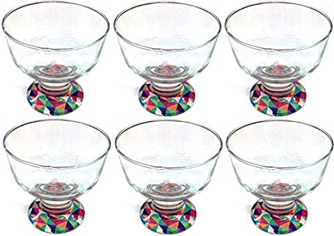 Set of 6 Glass Dessert Bowls Ice Cream Bowls With