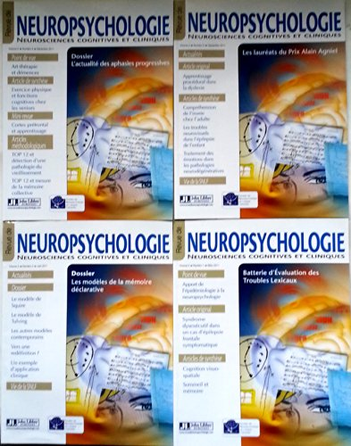 Revue de Neuropsychologie - Neurosciences cognitives et cliniques - Anne 2011 complte - Volume 3 - numros 1 - 2 - 3 - 4
