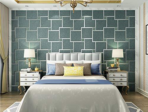 Einfache Moderne 3D Vlies Samt Tapete Wohnzimmer Schlafzimmer Tv Wand Sofa Hintergrundbild Einfarbig Gitter 0,53 X 10MA - Samt Gitter