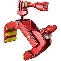 iSHOXS Shark - Universal Action-Kamera Mount (28-65mm Klemmbereich), Aluminium Klemm-Halterung für GoPro Action-Cams - Rot