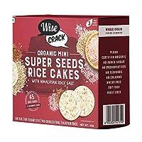 WiseCrack Organic Mini Super Seed Cakes - Whole Grain Puffed Cracker, Oil Free, NO Added Sugar, Crispy Healthy Snacks. (45g X 3) - 45 Rice Cakes PER Box