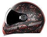 Steelbird Exclusive Adonis R2K Full Face Helmet in Matt Finish with Smoke Visor (Large 600 MM, Matt Black/Red)