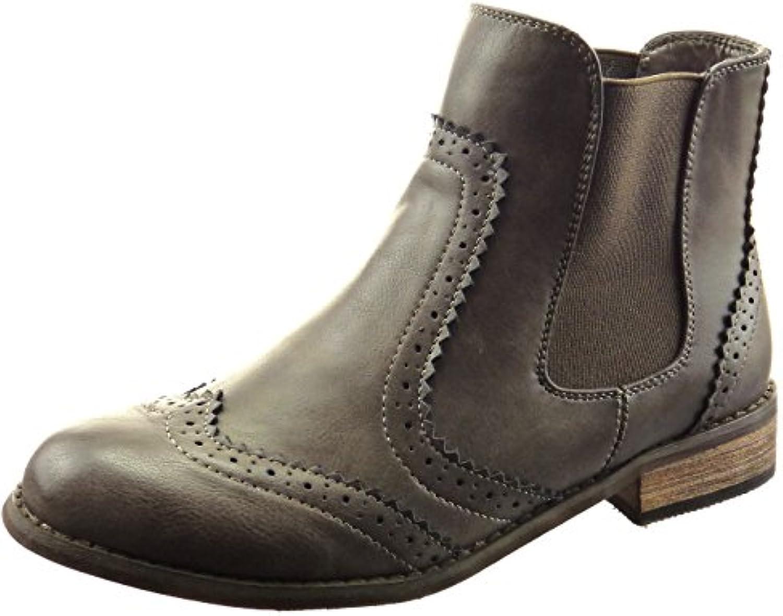 Sopily - Zapatillas de Moda Botines chelsea boots A medio muslo mujer perforado Talón Tacón ancho 3 CM - Gris