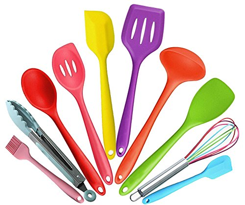 Premium Silicone Kitchen Baking Set - Spatulas, Basting Brush & Whisk- Heat Resistant Cookware Utensil (10 Piece Baking Set)