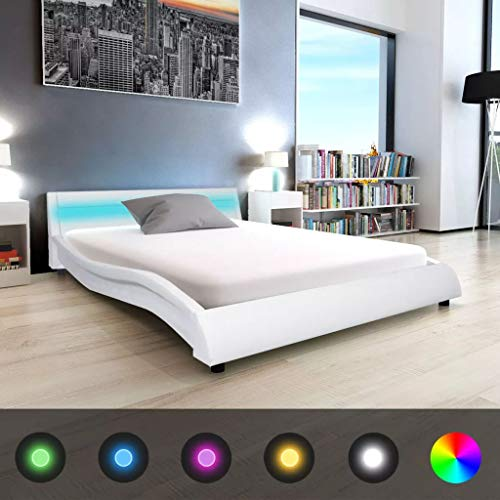 Tidyard- Bettrahmen mit LED Bettgestell Doppelbett ohne Matratze 140x200 cm Kunstleder Bett Weiß