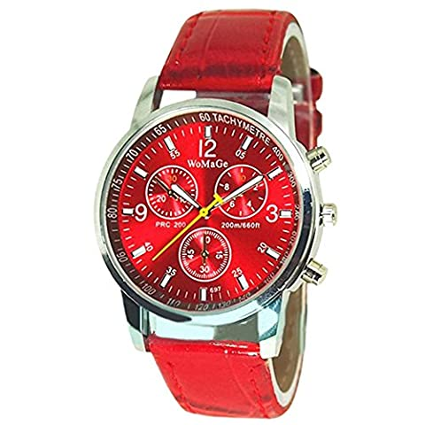 Round Dial Faux Leather Strap Quartz Men's Wrist Watch Red