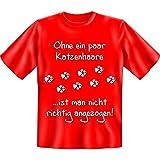 Fun T-shirt Ohne ein paar Katzenhaare ist man nicht richtig angezogen! Gr XXL Fb rot