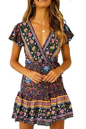 Ehpow Sommerkleid Damen Boho V-Ausschnitt Vintage A-Linie Minikleid Swing Strandkleid mit Gürtel (X-Large, Schwarz blau)