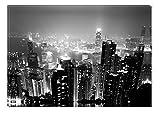 Startonight Leinwand Wand Kunst Schwarz und Weiß Hong Kong, Doppelansicht Überraschung Modernes Dekor Kunstwerk Gerahmte Wand Kunst 100% Ursprüngliche Fertig zum Aufhängen 80 x 120 CM