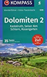 Dolomiten 2, Kastelruth, Seiser Alm, Schlern, Rosengarten: Wanderführer mit Extra-Tourenkarte 1:35000, 35 Touren, GPX-Daten zum Download. (KOMPASS-Wanderführer, Band 5725) - Franziska Baumann