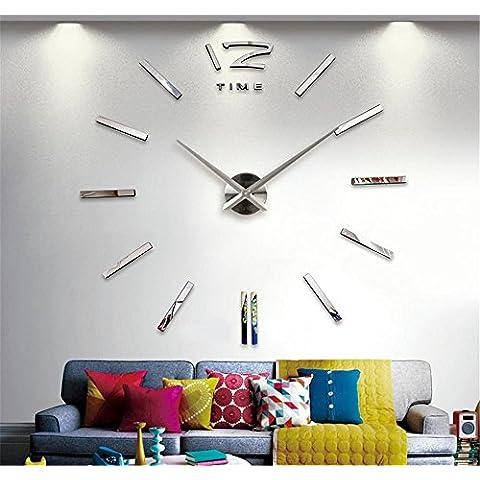 GYN Moda creativa 3D grandi dimensioni acrilico specchio DIY Orologio minimalista Sticker Orologio artistico soggiorno camera da letto TV sfondo decorazione , silver
