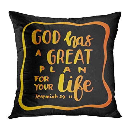 Zengyan Throw Pillow Cover Scripture God Has Great Plan for Your Life Hand Lettered Quote Bible Verse Modern Calligraphy Believe Decorative Pillow Case Home Decor Square 18x18 Inches Pillowcase