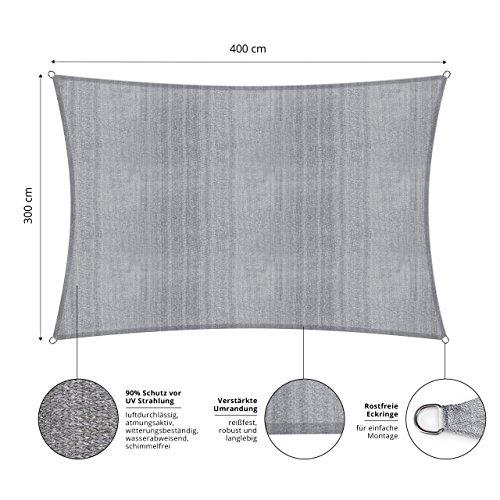 Lumaland Sonnensegel inkl. Befestigungsseile, 100% HDPE mit Stabilisator für UV Schutz, Rechteck 3 x 4 Meter hellgrau