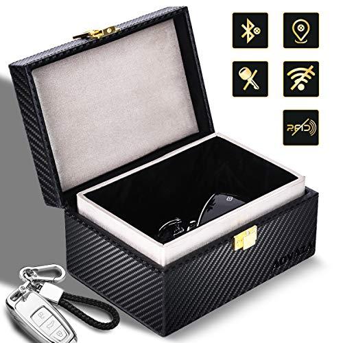 Aovaza Keyless Go Schutz Autoschlüssel Box, Auto Key Diebstahlschutz Faraday Box, RFID Signal Blocking Case für Car Keys, Große Auto Schlüssel Safe Aufbewahrungsbox (Kohlefaser)