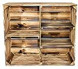 Vintage-Möbel24 GmbH Geflammter Holzschrank mit 3 Mittelbretter und Trennbrett - flambierte Holzkiste Obstkiste - Regal flammbiert - Schuhregal Bücherregal Schuhschrank Kleiderschrank 77x68x35cm