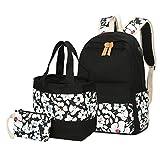 Schulrucksack Set,Canvas Schulrucksack/Schulranzen + Kühltasche/Handtasche+Geldbeutel/Mäppchen für Mädchen Jungen & Kinder Jugendliche (Schwarz)
