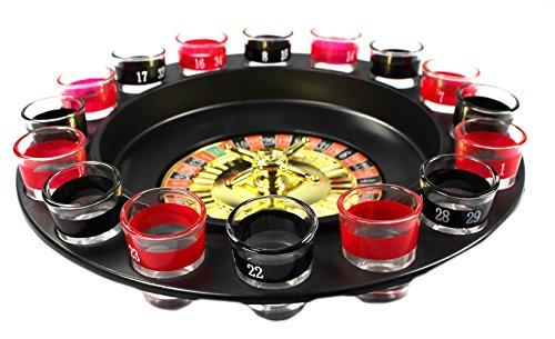 COM-FOUR Roulette Trinkspiel mit 16 Schnapsgläser