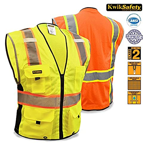 Kwiksafety haute visibilité haute visibilité Gilet Deluxe travail Zip Hivis Gilet réfléchissant haute visibilité Gilet Gilet Hi Viz classe 2Gilet de sécurité poches Heavy Duty Fermeture Éclair Construction réfléchissant, jaune