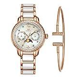 MAMONA Damen Uhr Set Chronograph Analog Quarz mit Edelstahl und Keramik Armband Rose Gold L58010RGGT