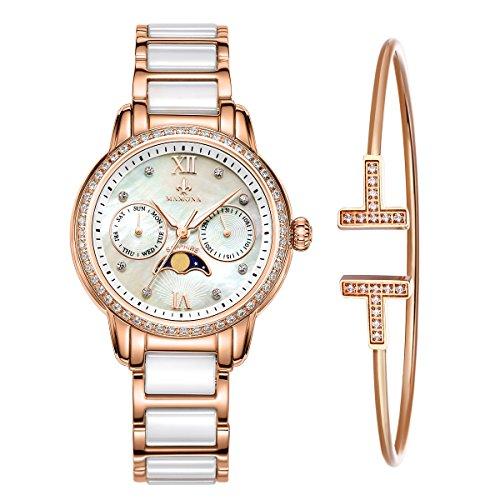 MAMONA Chronograph Herren in Rosengold mit Armband Set aus rostfreiem Stahl und Keramik Armbanduhr mit Kalender L58010RGGT