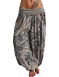ZIYOU Damen Harem Hosen in vielen Farben, Übergröße Loose fit Geblümt Pumphos Weitem Beinhosen Beiläufige Fitness Yogahosen